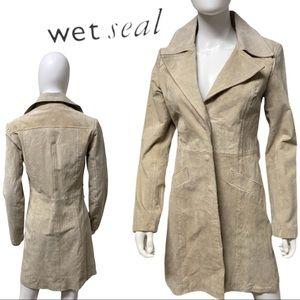 Wet Seal Long Full Length Beige Suede Jacket Coat